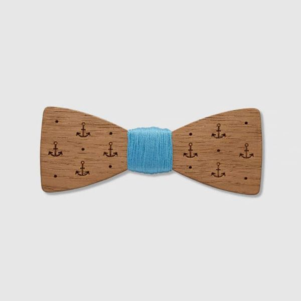 Picture of Navy Wooden Bowtie